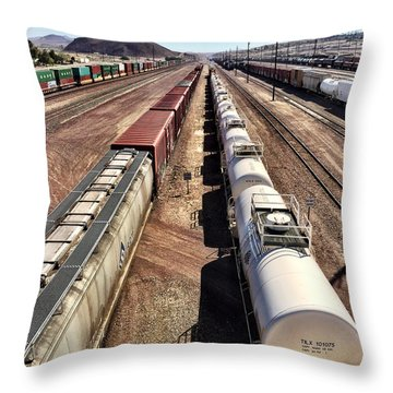 Six Trains Throw Pillow