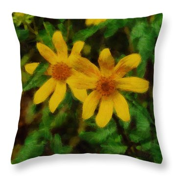 Sixteen Petals  Two Yellow Wildflowers Throw Pillow by Michael Flood
