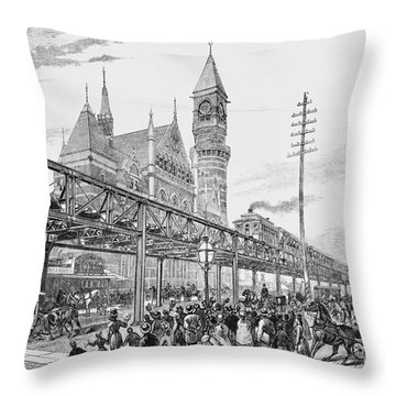Sixth Avenue El Train 1878 Throw Pillow by Omikron