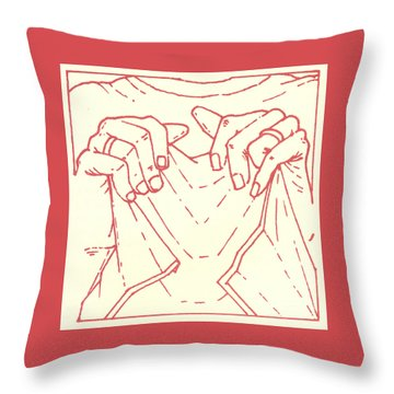Throw Pillow featuring the drawing Sixth Station- Veronica Wipes The Face Of Jesus by William Hart McNichols