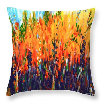 Throw Pillow featuring the painting Sizzlescape by Holly Carmichael