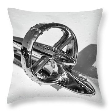 Throw Pillow featuring the photograph Special Hood Ornament Monotone by Dennis Hedberg