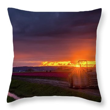 Throw Pillow featuring the photograph Skagit Valley Tractor Sunstar by Mike Reid