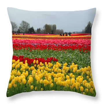 Skagit Valley Tulip Festival 2 Throw Pillow by Karen Molenaar Terrell