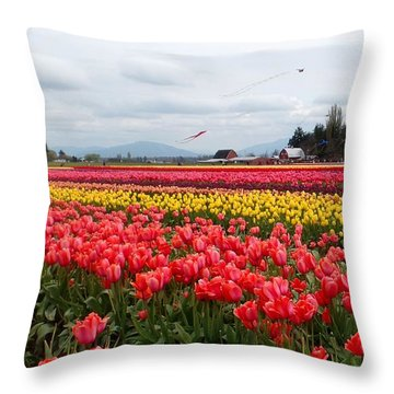 Skagit Valley Tulip Festival 3 Throw Pillow by Karen Molenaar Terrell