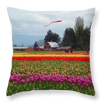Skagit Valley Tulip Festival Throw Pillow by Karen Molenaar Terrell