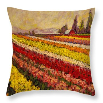 Throw Pillow featuring the painting Skagit Valley Tulip Field by Charles Munn