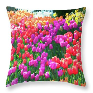 Skagit Valley Tulip Garden,  Throw Pillow