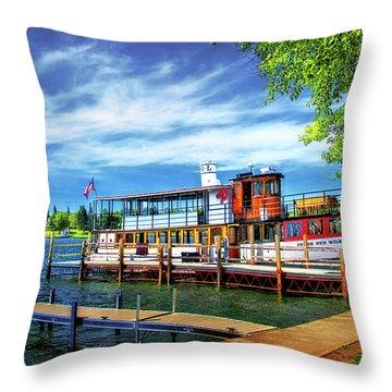 Skaneateles Lake Cruise Boat Throw Pillow