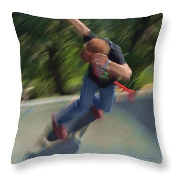 Skateboard Action Throw Pillow by Kae Cheatham