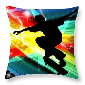 Skateboarder In Criss Cross Lightning Throw Pillow by Elaine Plesser