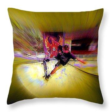 Throw Pillow featuring the photograph Skateboarding by Lori Seaman