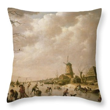 Skaters On A Frozen Canal Throw Pillow