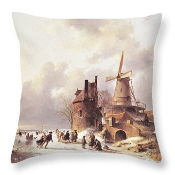 Skaters On A Frozen River Throw Pillow
