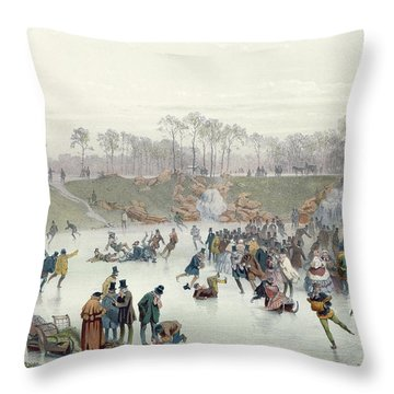 Skaters On The Lake At Bois De Boulogne Throw Pillow by Ice Skaters on the Lake at Bois de Boulogne