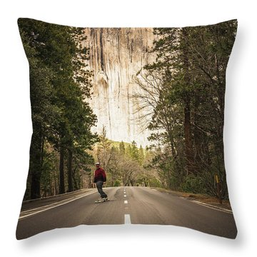 Skating Amongst The Giants Throw Pillow
