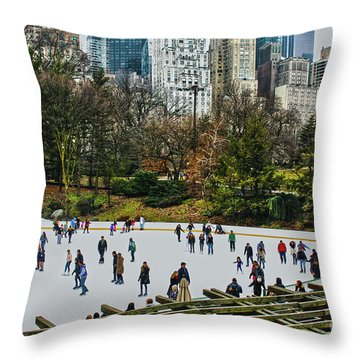 Skating At Central Park Throw Pillow by Sandy Moulder