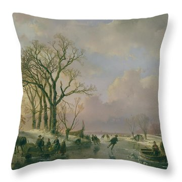 Skating In Holland Throw Pillow