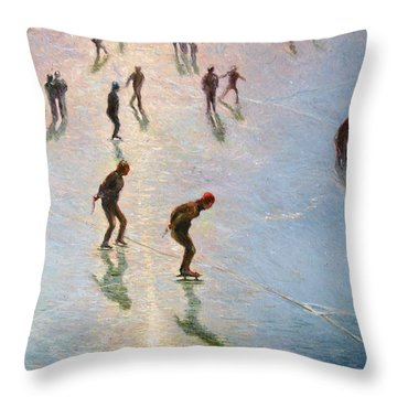 Skating In The Sunset  Throw Pillow by Pierre Van Dijk