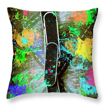 Skating Pop Art Throw Pillow