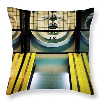 Throw Pillow featuring the photograph Skeeball Arcade Photography by Melanie Alexandra Price