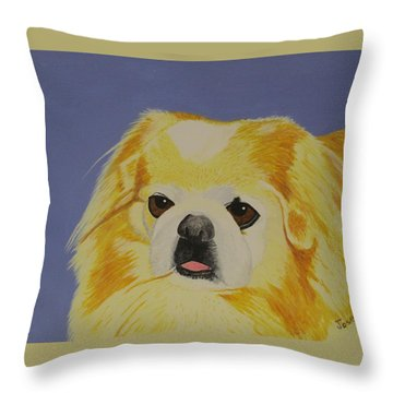 Throw Pillow featuring the painting Skeeter The Peke by Hilda and Jose Garrancho