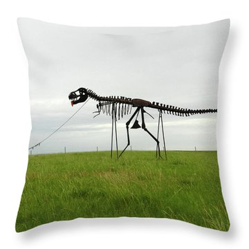 Skeletal Man Walking His Dinosaur Statue Throw Pillow