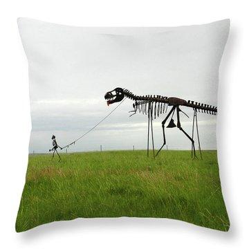 Skeletal Man Walking His Dinosaur Statue Throw Pillow