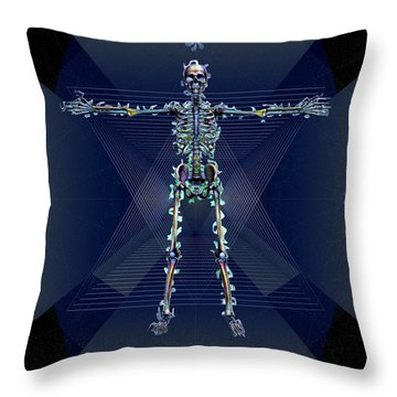 Throw Pillow featuring the digital art Skeletal System by Iowan Stone-Flowers