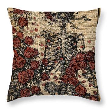 Skeleton Art, Skeleton With Roses Book Art,human Anatomy Throw Pillow