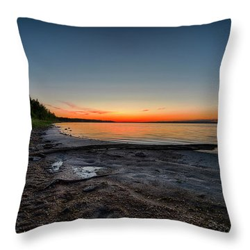 Throw Pillow featuring the photograph Skeleton Lake Beach At Sunset by Darcy Michaelchuk