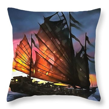 Skeleton Of A Junk Throw Pillow by Tracey Harrington-Simpson