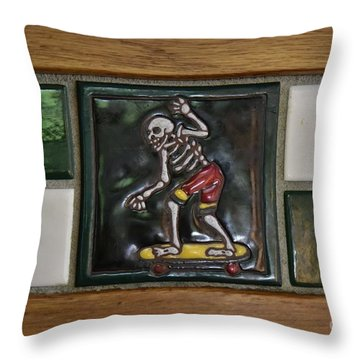 Skeleton On Wheels Throw Pillow