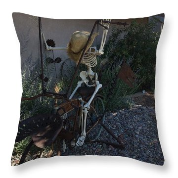 Skeleton's Bike Ride  Throw Pillow