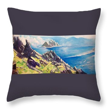 Skelligs County Kerry Ireland Throw Pillow by Paul Weerasekera