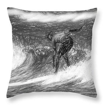 Sketch A Wave Throw Pillow