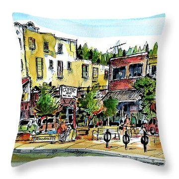 Throw Pillow featuring the painting Sketch Crawl In Truckee by Terry Banderas