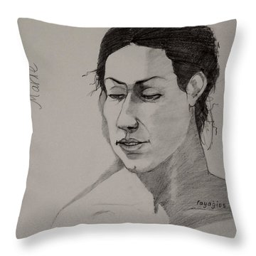 Throw Pillow featuring the drawing Sketch For Marie 2 by Ray Agius