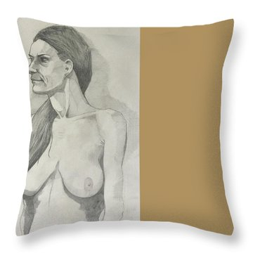 Sketch Mary Lying Throw Pillow
