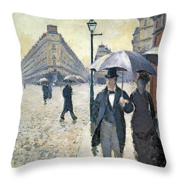 Sketch For Paris A Rainy Day Throw Pillow by Gustave Caillebotte