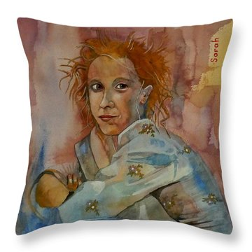 Throw Pillow featuring the painting Sketch For Sarah by Ray Agius