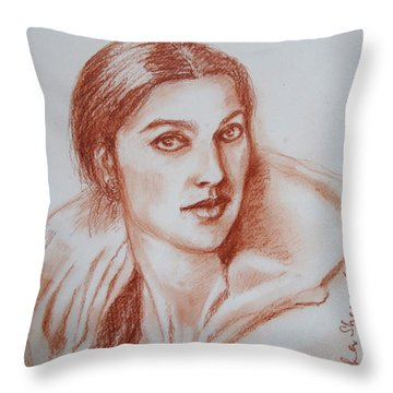 Sketch In Conte Crayon Throw Pillow