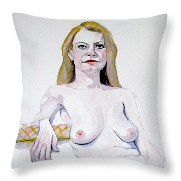 Sketch Mary Leaning Throw Pillow