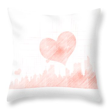 Sketch Of The City Skyline Throw Pillow