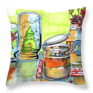Throw Pillow featuring the drawing Sketch Of Winter Decorative Jars  by Ariadna De Raadt