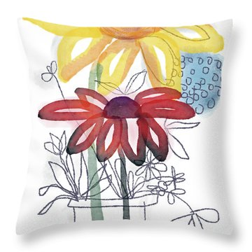 Sketchbook Flowers Thank You- Art By Linda Woods Throw Pillow