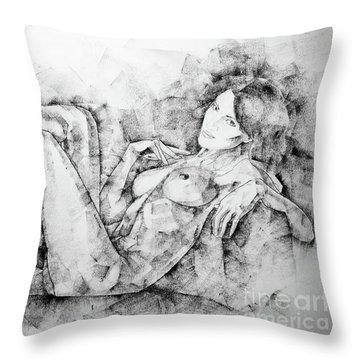Sketchbook Page 46 Drawing Woman Classical Sitting Pose Throw Pillow