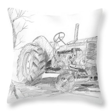 Sketchy Tractor Throw Pillow