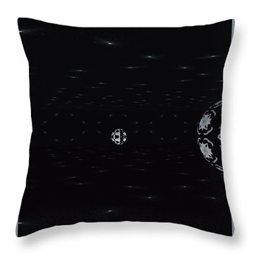 Throw Pillow featuring the digital art Skewed Cone Orbit At Night by Sheila Mcdonald