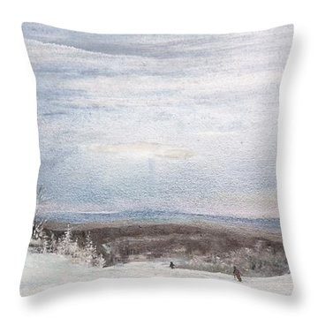 Throw Pillow featuring the painting Ski The Blues Away by Ken Ahlering